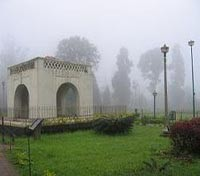 Raja's Seat on a foggy morning in Madikeri