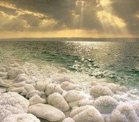 Salt and Mineral Deposits on the shore of the Dead Sea