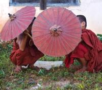 Playful Local Monks with Parasols