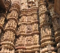 Erotic carvings on the Khajuraho Temples