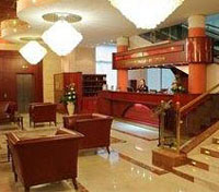 The sophisticated lobby of Arbat Hotel