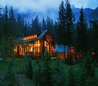 Cathedral Mountain Lodge At Night