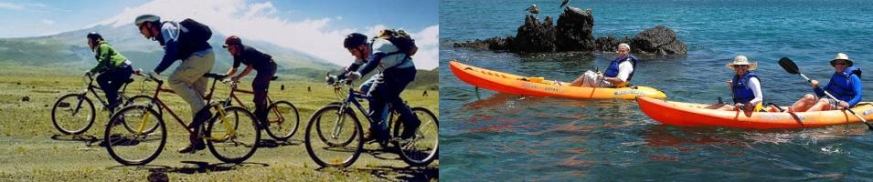 Biking and kayaking