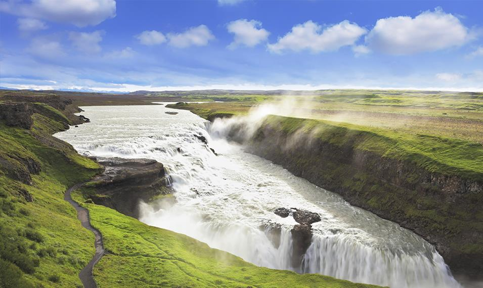 Explore the famed Golden Circle, and make a stop at Gulfoss Waterfall.