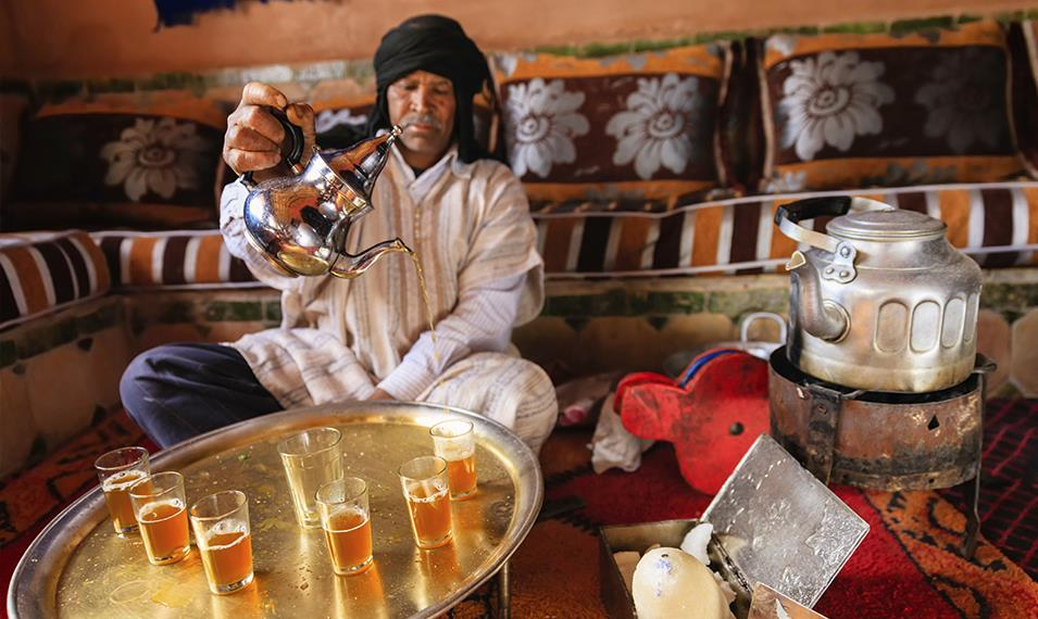 Sip mint tea with berbers in the Atlas Mountains.