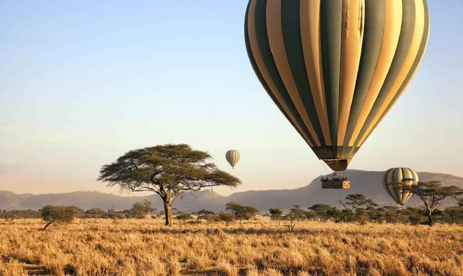 Soar over Tanzania on a hot air balloon flight.