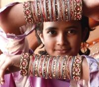 Girl wearing traditional Bangles