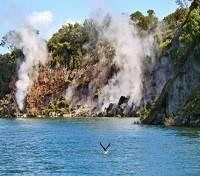 New Zealand Family Tours 2017 - 2018 -  Geysers in Rotomahana Lake