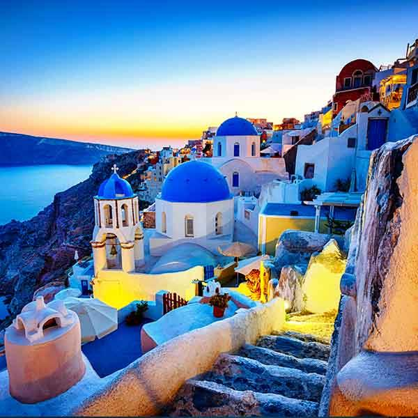 Santorini stairways at sunset